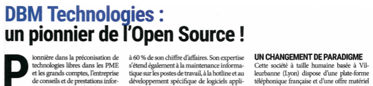 DBM Technologies, un pionnier de l'Open Source
